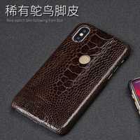 Genuino avestruz piel teléfono caso para Xiao mi 6 8 A1 A2 Lite Max 2 mi x2S nota 5 Para rojo mi nota 4 4X5 5A Plus cubierta