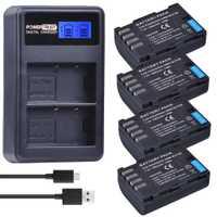 4 pièces 1860 mAh DMW-BLF19E batterie de caméra DMW-BLF19 DMW BLF19 BLF19 BLF19E + LCD double chargeur USB pour Panasonic Lumix GH3 GH4 GH5