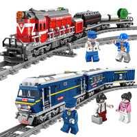 2018 nuevo LegoING tren de Power-Driven Diesel tren de carga con las pistas modelo técnica bloques de construcción de Juguetes para los niños