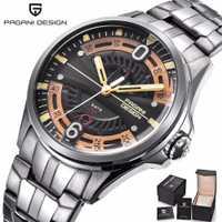 PAGANI DESIGN De Mode décontracté Marque montre pour homme acier inoxydable 30 M Étanche Quartz Sport Creux montre calendrier Relogio Masculino