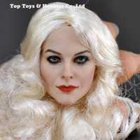 DIY cabeza a escala 1/6 esculpir rizos blancos figura de acción CG CY cabeza de KM-18-41 femenina pintada esculpir Europea plata buena rizos cabeza Carmen