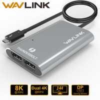 Wavlink Thunderbolt 3 tipo C USB3.1 Dual DisplayPort compatible con hasta 8 K Super Speed adaptador de Hub USB para ordenador portátil escritorio/Mac OSX