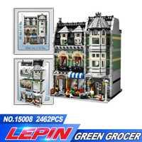 DHL LEPIN 2462 pcs livraison gratuite 15008 Ville Rue Créateur Vert Épicier Modèle Kits de Construction Blocs Briques Compatible legoed 10185