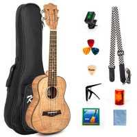 Kmise concierto Ukelele Tigre llama Okoume de Kit de arrancador de 23 pulgadas guitarra clásica cabeza con trabajo bolsa sintonizador correa de cadena