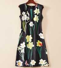 Venta caliente estampado de flores vestido de las mujeres de moda cuello Mini vestidos casuales K1255