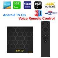 RK10 inteligente TV Box caja de la TV Android OS con Control remoto por voz RK3328 Quad core 2 GB RAM 16 GB ROM WIFI USB3.0 3D 4 K HDR10 Set-Top Box