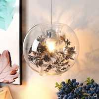 Bola de cristal transparente colgante nórdico minimalista personalizado papel flor restaurante entrada lámpara de iluminación decorativa