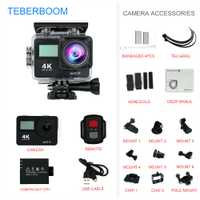 TEBERBOOM S4R pantalla doble Cámara de Acción 4 K Ultra HD 1080 p/30FPS Mini casco Cámara Wifi 2,0 170D impermeable de los deportes