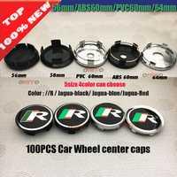 Venta al por mayor 100 unids/lote coche emblema insignia tapa para R logotipo 56mm 58mm 60mm 64mm de a prueba de polvo emblema cubre estilo de coche