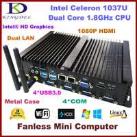 2016 nuevo Mini PC sin ventilador Industrial computadora Intel Celeron 1037U CPU Barebone... 2*1000 M LAN 4 * COM 4 * USB 3,0 de 300 M WiFi HDMI