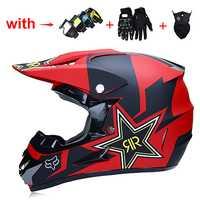 Casco de Motocross motocicleta fuera de carretera casco de cara completa montai casco adulto con guantes/gafas/máscara