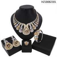 YULAILI de lujo nueva llegada conjuntos de joyas de boda, Zirconia cúbico declaración collar pendientes establece para las mujeres anillo de brazalete