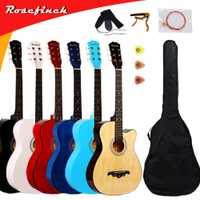 Guitarra acústica de 38 pulgadas para principiantes 6 cuerdas Basswood con juegos negro blanco madera rojo Guitarra colores AGT16