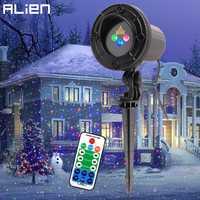 ALIEN RGB movimiento estático Puntos Estrella Navidad láser proyector de luz al aire libre jardín Holiday Xmas árbol decoración efecto mostrar luces