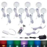 Aiboo 8 cambio de Color RGB LED bajo el gabinete iluminación Puck luces atenuación inalámbrica para cocina mostrador muebles iluminación estante