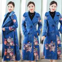 Abrigo de lana abrigos de invierno de mujeres Plus tamaño grande cálido gruesa parka chaqueta floral elegante mujer vintage ropa de alta calidad