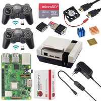 Original Raspberry Pi 3 Modelo B Plus + + + ventilador de CPU + 32G tarjeta SD + 2 piezas wireless Gamepad + de + Cable HDMI para Retropie