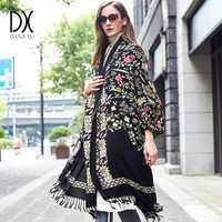 100% Laine Carré foulards Femmes Dame Élégante Carf Et Chaud Châle Long Animal Étoles Impression Bandana Écharpe Hijab couverture de plage