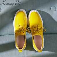 Krazing olla 2019 superestrella de marca de cuero genuino de primavera zapatos casuales zapatos del dedo del pie redondo zapatillas de plataforma de cuña de las mujeres zapatos vulcanizados zapatos L06