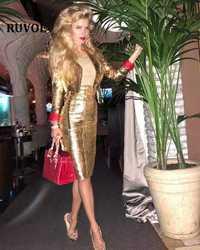Invierno de 2019 de oro vestido de las mujeres Sexy cuello de manga larga vestido fajas mujer elegante de la longitud de la rodilla vestido de fiesta f-66