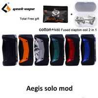 Cadeau gratuit GeekVape Aegis Solo mod étanche E Cigarette fit cerbère Subohm réservoir Tengu RDA par unique 18650 VS aegis mini Mod
