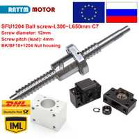¡DE/UE/RU entrega! SFU1204 bola screw-L300/350/400/500/600/650mm extremo mecanizado y BK/BF10 y la pelota tuerca de tornillo y tuerca de vivienda para el router CNC