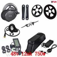 Bafang BBS02 48 V 750 W motor de bicicleta eléctrica 8Fun mid drive kit de conversión de bicicleta eléctrica con 48 v 12ah batería de Li-ion
