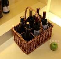 Natural y hecho a mano 6 divisiones mimbre y vid punto organizador cesta de almacenamiento para el vino, bebidas y camping picnic suministros
