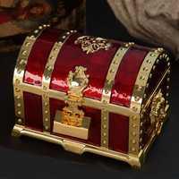Europa Metal XL tamaño joyas caja de almacenamiento organizador de escritorio tesoro 2 capas joyería para inicio drcoration Z107