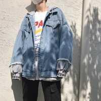 Otoño falso dos piezas vaquero ropa sombrero chaqueta hombres impresión bordado abrigo suelto Streetwear Hip Hop con capucha Academia Casual
