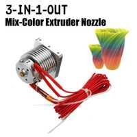 12 V 0,4 Mm 3 en 1 de Mix-Color boquilla extrusora con calentador de cartucho y sensor de temperatura para 3D impresión