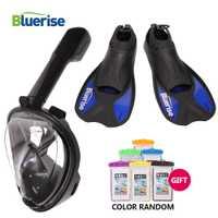 Agua buceo máscara aletas adultos snorkel buceo equipo de natación con aletas Flipper máscara de buceo máscara de cara completa para buceo.