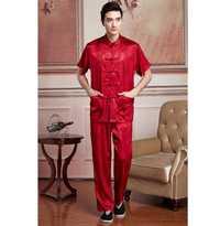 Rojo 2015 nuevo chino tradicional de los hombres de seda de satén de manga corta Shadowboxing Kung-Fu chaqueta conjuntos M L XL XXL 3XL WNS201501