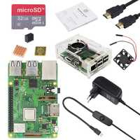 Original Reino Unido RS Raspberry Pi 3 Modelo B, modelo B + kit con 3A adaptador de alimentación y de acrílico transparente caso mejor que raspberry Pi 3
