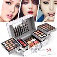 Color de tres capas de paleta de sombra de ojos de las mujeres cosméticos conjunto de moda con cepillo de espejo de maquillaje Kit profesional de contorno