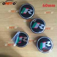 Accesorios para automóviles 100 piezas 56mm 60mm logotipo de la rueda del coche emblema rueda a prueba de polvo emblema cubre para R logo coche estilo