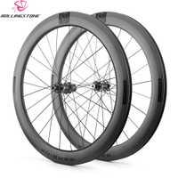 Rolling Stone ruedas de carbono 700C cubierta de ciclocross de ruedas de freno de disco aero borde 58mm carretera de grava bicicleta QR a través del eje 12mm, 15mm