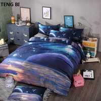 Hipster Galaxy 3D juego de cama universo espacio exterior temática galaxia imprimir cama Lino edredón funda y almohada tamaño Queen ropa de cama