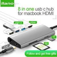 Llano USB docking Estación de todo-en-uno USB-C a HDMI lector de tarjeta RJ45 PD adaptador para MacBook Samsung galaxy S9/S8/S8 + tipo C HUB