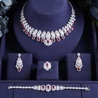 Accking latón 4 piezas de Zirconia cúbica, juegos de joyería para mujer fiesta de lujo de Dubai africano piedra CZ joyería de la boda de