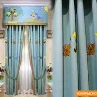 Personalizada de cortinas Chevron parche bordado de dinosaurio de dibujos animados tela engrosamiento tela azul cortinas de tul cenefa N620