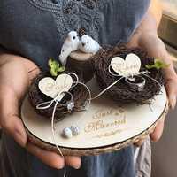 1 piezas nuevo creativo único nombre personalizado nido anillos titular propuesta de boda de decoración de almohada de anillo