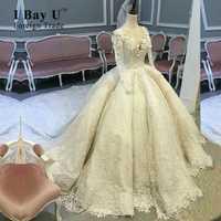 Vestidos de novia de lujo personalizados superiores increíble encaje de cuentas nuevo modelo apliques de manga larga musulmán vestido de novia vestido de baile de satén
