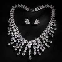 AAA cubic zirconia collar de la boda y Pendientes lujo cristal Juegos de joyería para novia para damas s038
