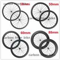 38mm 50mm 60mm 88mm 700C rueda de carbono bicicleta de carretera ruedas de carbono 23mm ancho bicicleta de carbono ruedas llanta de bicicleta