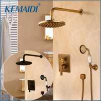 KEMAIDI bañera grifos ducha de pared negro ocultar grifos ducha grifo mezclador grifo de ducha W/mano de