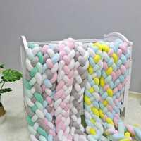 2M3M 4 nudo suave cama de bebé parachoques cuna lados 4 trenza de 2 metros recién nacido cuna Pad protección de los protectores de cuna ropa de cama para bebé