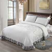 Nueva cama de lujo colcha de cama de tamaño King Queen juego de fundas de colchón topper manta funda de almohada couvre lit colcha de cama