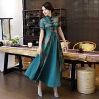 Novedad verde primavera Mujer China 2 Unid largo cheongsam noble elegante rayón qipao vestido elegante vestidos tamaño S M l XL XXL XXXL