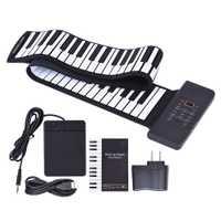 Portátil 88 teclas flexibles Roll Up Piano con pantalla LED USB electrónico MIDI teclado suave juguetes para niños aprendizaje regalo